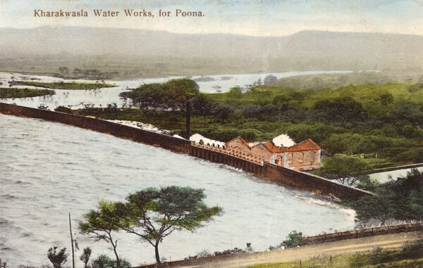 Pune (Poona), India - Khadakwasla Water Works. The original dam (pictured on this postcard), was built in the 1879 as a masonry gravity dam and was the first of its kind in the world. Date: 1910s