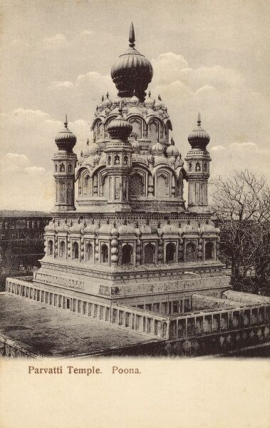 Pune, India - Parvati Devdeveshwar Temple, built in the Peshwa Dynasty rule Date: circa 1910s