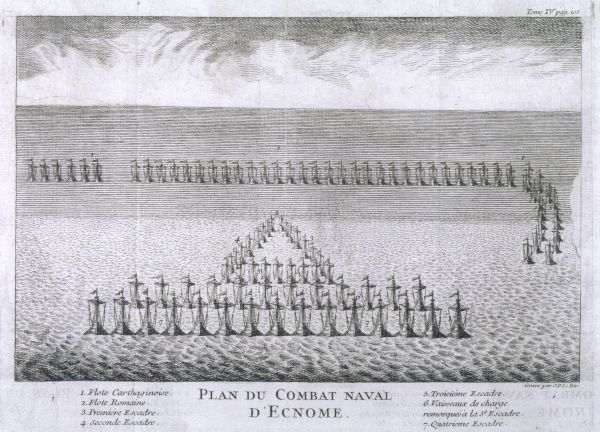 PUNIC WARS Naval battle of ECNOMUS :the Roman fleet won a hard-fought victory over the Carthaginians nearly 700 vessels took part
