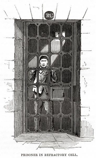 Prisoner in refractory (punishment) cell at Millbank Prison, London. Date: 1862