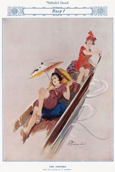 Two pouting girls in fashionable bathing costumes relax as they punt along a river under the shade of a Chinese parasol