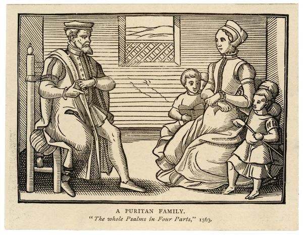 A Puritan family at home