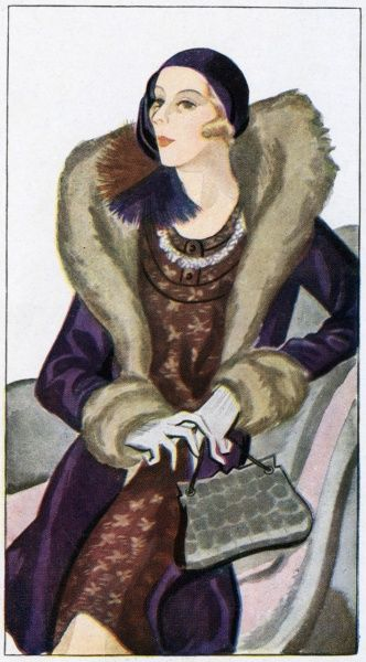 Ensemble by Jean Patou: new style helmet hat, purple coat with fur lining, cuffs & high roll collar, brown print dress with decorative neckline