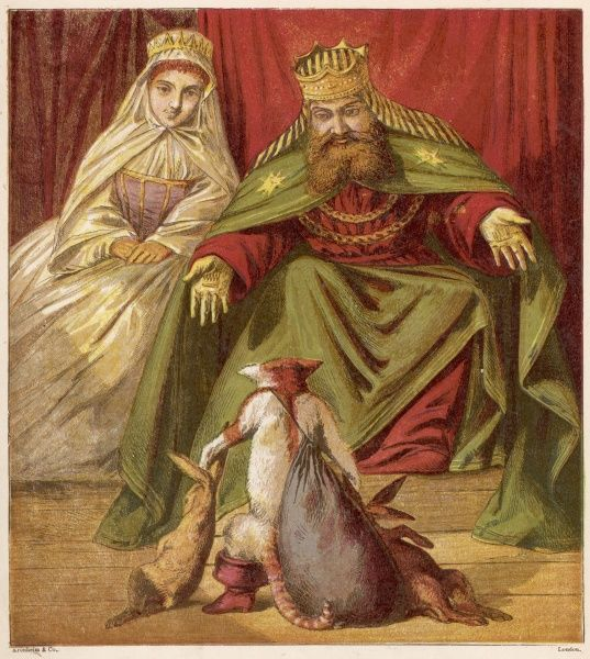 Puss stands before the King and Queen, telling them tall stories about his master, the supposed Marquis de Carabas