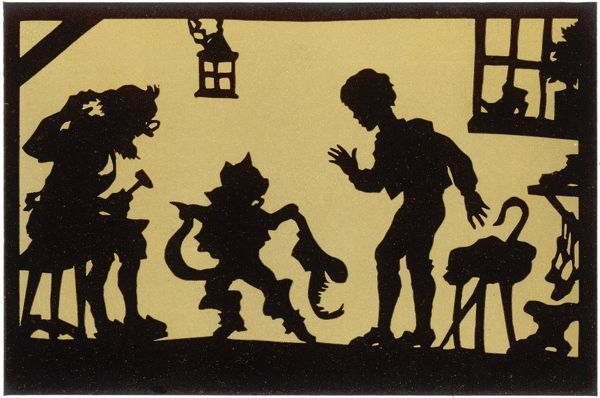 Puss tries on his new Boots at the Cobbler's Shop. Illustration to a fairytale by Charles Perrault, first published 1697
