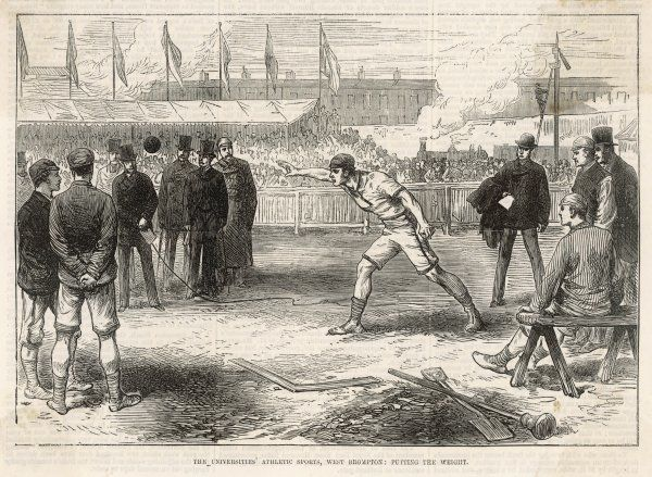 Putting the weight, or shot, at the Universities' Athletic Sports, held at West Brompton