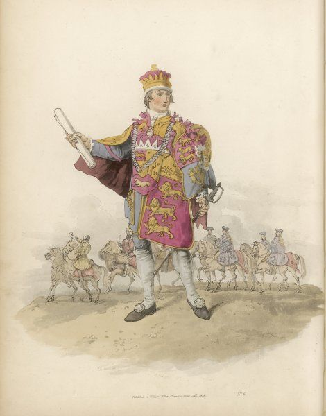 HERALD As representative of the sovereign, he makes his appearance on ceremonial occasions in a costume which dates from Richard III's time