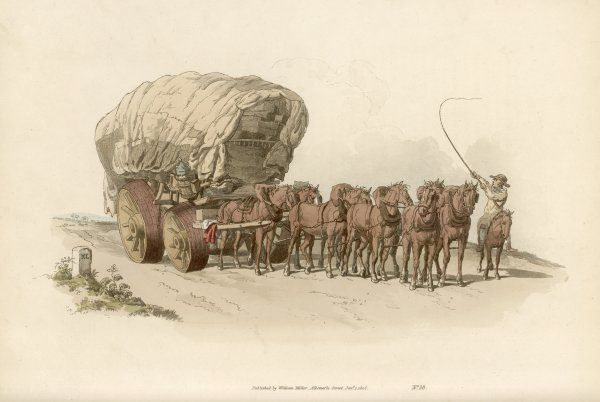 WAGGONERS - 'A broad-wheeled waggon, upon a fine road, with 8 or 10 horses bearing an equal share in the draught, is an object that excites no incnsiderable admiration&#39