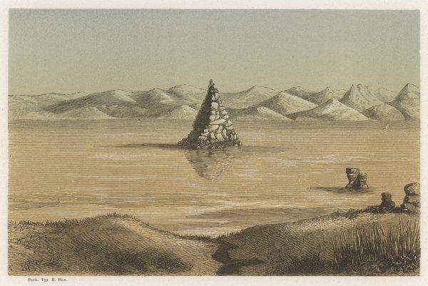 Located in northwest Nevada, this remote lake is today a popular tourist destination. The pyramid is a natural rock formation, despite its seemingly man-made appearance. Date: 1862
