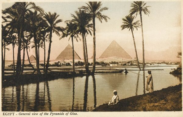 A view toward the three Pyramids at Giza, Cairo, Egypt from the direction of an Oasis close to the Nile with a still pool and palm trees