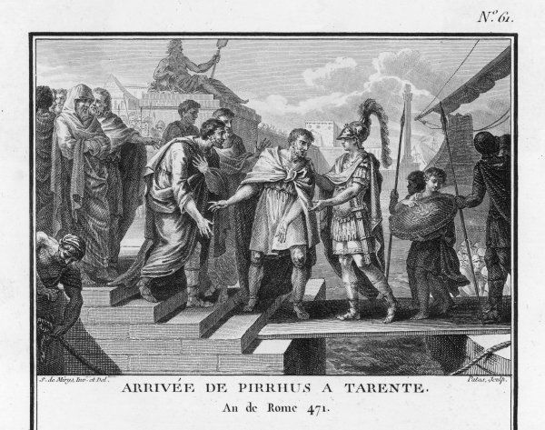 Pyrrhus, King of Epirus and Macedon, landing at the Greek city of Taranto (Tarentum) in southern Italy to help defend it against the Romans