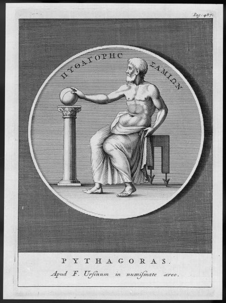 Pythagoras of Samos, Greek philosopher and mathematician. Seen here depicted on a medal or coin