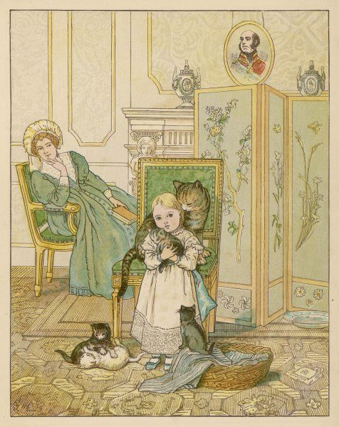 The young Victoria with her cat and kittens