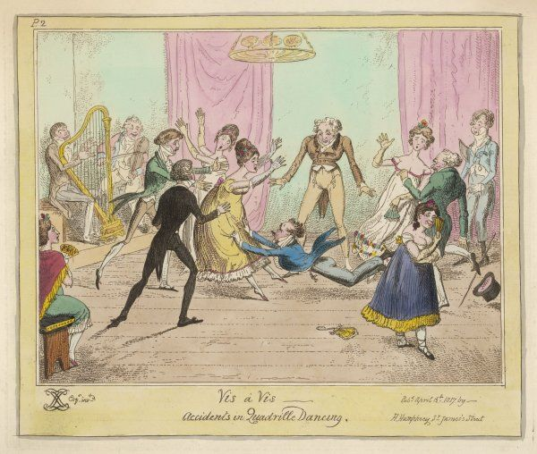 Accidents in Quadrille Dancing Mishaps to avoid on the dance floor: a man with two left feet trips dragging the woman opposite down with him to the amusement of a rival female