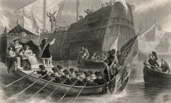 Quaker emigrants leaving London for America are seen off by Charles II in the royal barge off the Tower of London