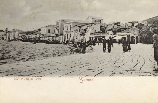 Quayside of the the Port of Vathy, Island of Samos, Greece Date: circa 1906