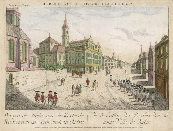 The rue des Recolets in the haute ville. The print is undated : if before 1759, those are French soldiers, if after, they are British