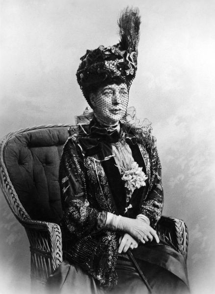 Queen Alexandra (1844 - 1925), formerly Princess Alexandra of Denmark and consort of King Edward VII, pictured in later life wearing a magnificent toque style hat. Date: c.1910
