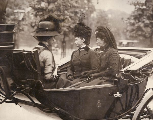 Queen Alexandra (1844-1925) and her sister Empress Maria Feodorovna of Russia, formerly Princess Dagmar of Denmark (1847-1928), in an open carriage, leaving Victoria Station, Central London, at the time of the death of King Edward VII