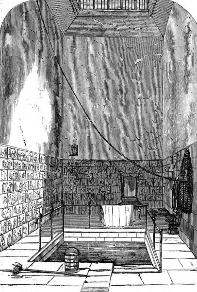 Engraving showing 'Queen Anne's Bath' in the basement of a tenement house in Endell Street, London, 1859