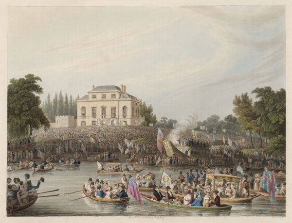 The immense popular support for Queen Caroline is vividly demonstrated when the Thames watermen gather to address her at Brandebnurgh House, backed by boat-loads of well-wishers