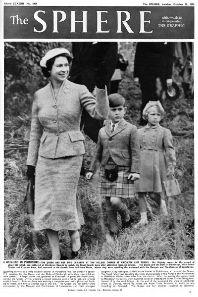 The Queen with Prince Charles and Princess Anne. They are attending church at the village of Kinclaven during a weekend in Perthshire, Scotland. Date: 1955