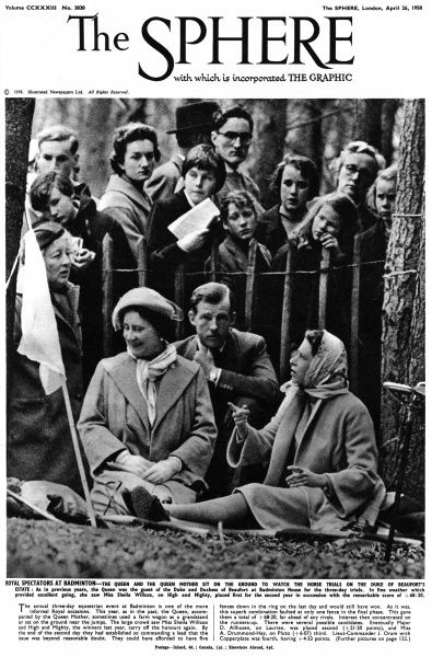 Royal spectators at Badminton. Queen Elizabeth II and the Queen Mother sit on the ground to watch the horse trials on the Duke of Beaufort's estate at Badminton House in 1958. Date: 1958