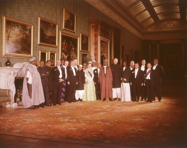 Queen Elizabeth II and Commonwealth ministers in jolly mood at Buckingham Palace in 1968. Date: 1968