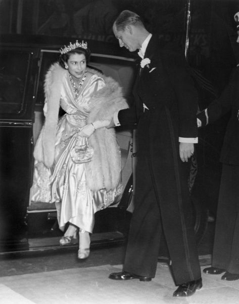 Princess Elizabeth (Queen Elizabeth II) and her husband, Prince Philip, Duke of Edinburgh attending the premiere of the Herbert Wilcox film, 'The Lady with a Lamp' at the Warner Theatre in London on 22nd September 1951
