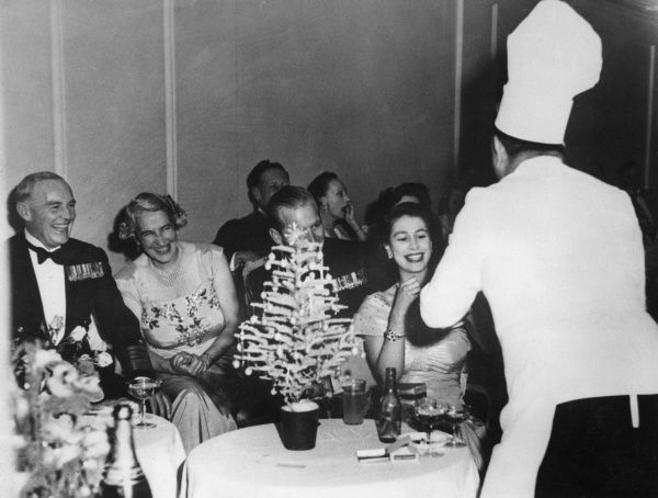 Princess Elizabeth (Queen Elizabeth II) attending a dance given at the Hotel Phoenicia in Malta by Wardroom Mess of Naval Headquarters, Lascaris