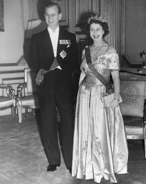 Queen Elizabeth II, when Princess Elizabeth, pictured with her husband, Prince Philip, Duke of Edinburgh at the Paris Opera House in May 1948. Date: 1948