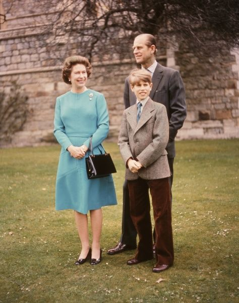 Queen Elizabeth II, the Duke of Edinburgh and their youngest son, Prince Edward. Date: 1970s