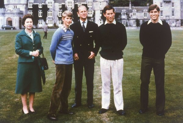Queen Elizabeth II and family. From left, the Queen, Prince Edward (Earl of Wessex), Prince Philip, Duke of Edinburgh, Prince Charles, Prince of Wales and Prince Andrew, Duke of York. Date: c.1977