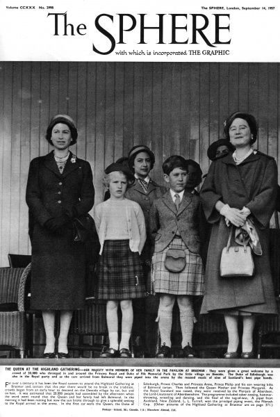 Queen Elizabeth II with members of her family at the pavilion at the Highland Gathering at Braemar, Scotland. Date: 1957