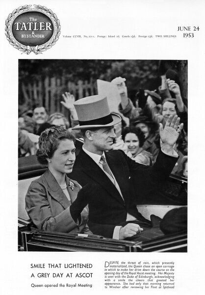 Queen Elizabeth II and Prince Philip, Duke of Edinburgh travel down the course in an open top carriage on the first day of Royal Ascot. Date: 1953