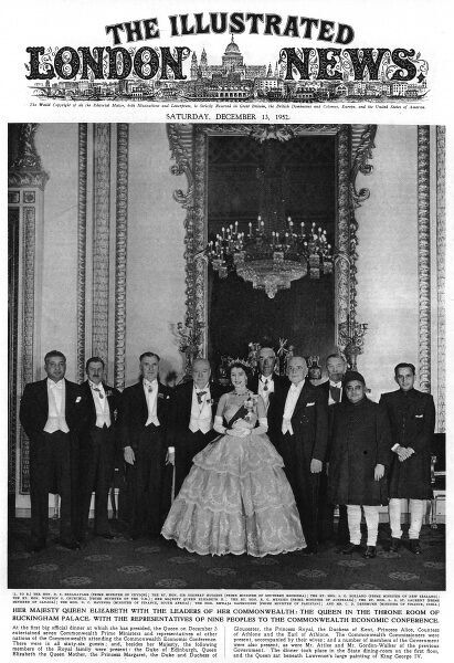 Queen Elizabeth II (born 1926) with the leaders of the Commonwealth in 1952