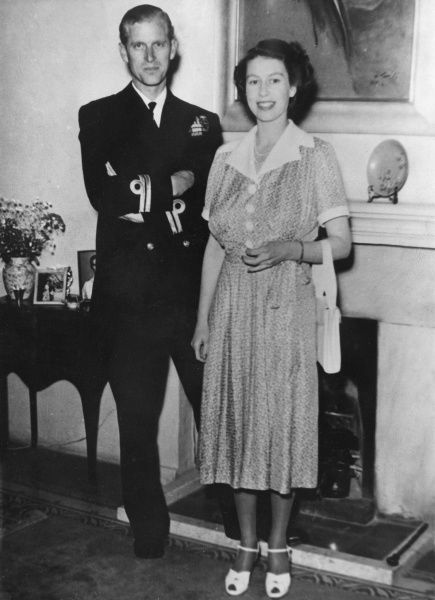 Princess Elizabeth (Queen Elizabeth II) pictured together with her husband, Prince Philip, Duke of Edinburgh during her visit to Malta, where the Duke was stationed as a naval officer before the Queen's accession. Date: 1950