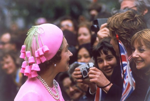 Queen Elizabeth II, a vision in pink smiles and chats with crowds of well-wishers on a royal walkabout in London to celebrate her Silver Jubilee in 1977