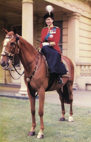 Queen Elizabeth II (born 1926), pictured on horseback in the uniform of the Grenadier Guards. Date: c.1953