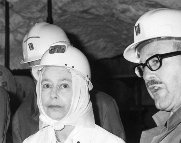 Queen Elizabeth II visiting the Geevor Tin Mine in Cornwall