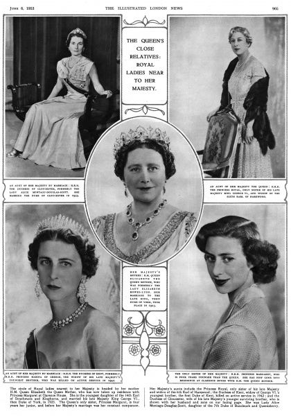 The Queen's close relatives: royal ladies near to her majesty. Clockwise from top left: H.R.H. The Duchess of Gloucester, aunt of the Queen; H.R.H. The Princess Royal, another aunt of the Queen; H.R.H. Princess Margaret, the Queen's sister; H