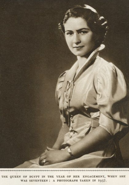 Miss Farida Zulficar(1921-1988),later Queen Farida of Egypt, shown at the time of her engagement to King Faruk of Egypt, when she was 17 years old