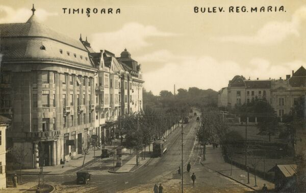 Queen Maria Boulevard - Timisoara in the Banat region of western Romania. It is the capital of Timis County. Date: circa 1930s