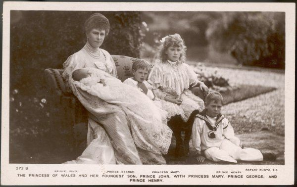 QUEEN MARY Wife of George V, with her children Mary, George, Henry and John