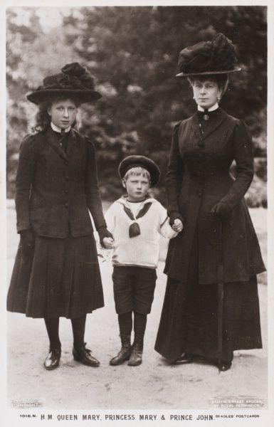 QUEEN MARY Queen Mary, consort of King George V, pictured with her only daughter, Princess Mary (later Viscountess Lascelles) and youngest son, Prince John