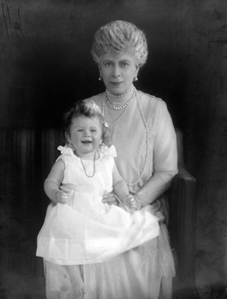 Photographic portrait of Queen Mary (1867-1953), previously Princess May of Teck, pictured with Princess Elizabeth (b.1926), later Queen Elizabeth II, in c.1926