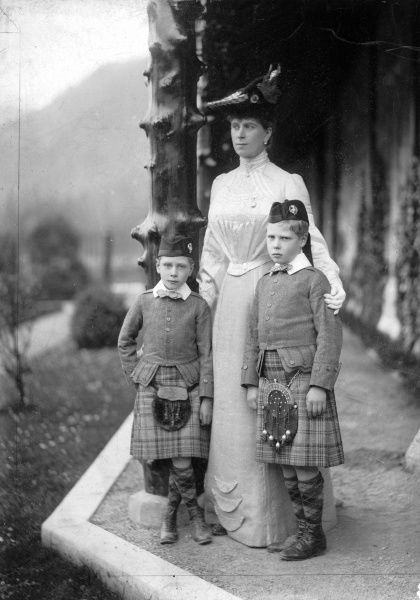 Photograph taken of Queen Mary, wife of George V, together with her two eldest sons, (left) Albert George (later George VI), and (right), Edward (later Edward VIII)