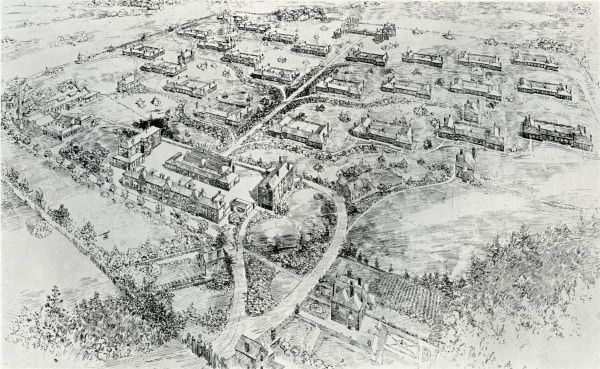 Architect's bird's eye view of the Queen Mary's Children's Hospital, Carshalton, Surrey