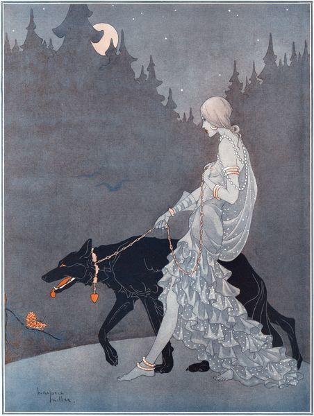 Moody colour illustration by Marjorie Miller showing woman clad in a diaphonous dress roaming moonlit forests with a savage-looking wolf-like dog