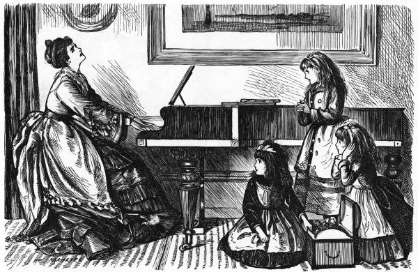 Three girls plead with their musical Mamma to stop playing the piano. Date: 1874